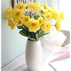 Skyseen 12 Bouquets 2 Heads Artificial Rosemary Poppy Flowers for Home Wedding Party Decor,Yellow 72