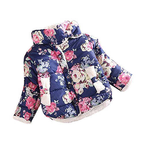 BOBORA Infant Baby Girl Butterfly Pattern Coat Toddler Jacket Outwear (3-4Y, Navy-Flowers Print)