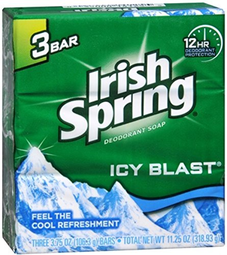 Irish Spring Deodorant Bar Soap, Icy Blast, 3.75 Ounce Bars, 3 each, Pack of 5 (15 Total)