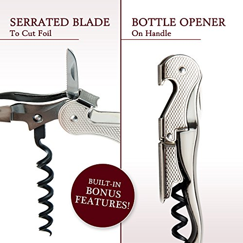 Premium Waiter's Corkscrew – Professional Grade Handheld Wine and Bottle Opener with Metalic Handle, Double Hinged Lever and Foil Cutter - by DeVine Accessories by DeVine Accessories (Image #4)