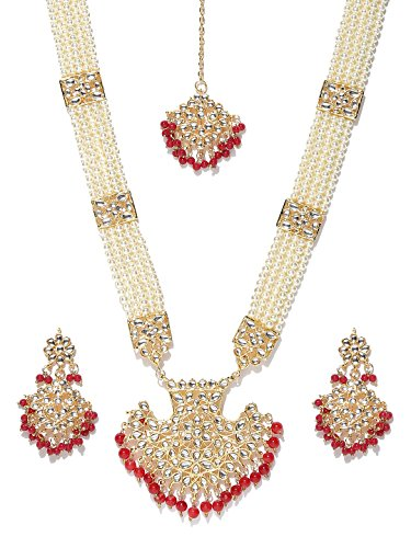 Zobby Ethnic Indian Traditional Off-White Gold Plated Handcrafted Kundan Stone-Studded Jewelry Set for Women