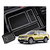 R RUIYA Ceter Console Organizer Compatible with 2018 2019 VW Volkswagen Atlas Armrest Box Glove Secondary Storage Divider Insert Tray with Coin Holder (White)