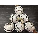 BLACK ASH SEAMER Pack of 6 White Cricket Leather Balls 156 Grams
