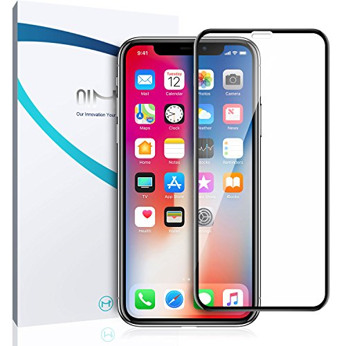 iPhone X Screen Protector Glass, QiMai 3D Invisible+ iPhone X Full Tempered Glass Screen Protector [Newest Dust-Free Version] for Apple iPhone X / iPhone 10 (2017)