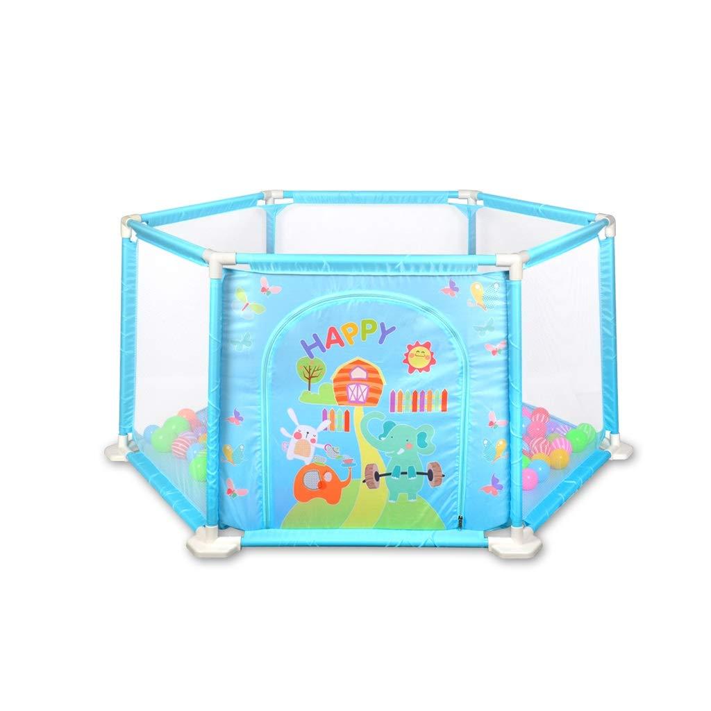 ベビーフェンスフェンス▏子供の遊びフェンス▏幼児屋内幼児安全クロールマット (色 : 青)  青 B07P7S5XTK