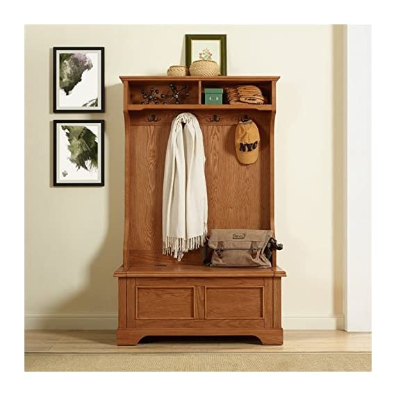 Pemberly Row Hall Tree in Oak - Finish: Oak Materials: Hardwood and Veneer Solid Hardwood & Wood Veneer Construction - hall-trees, entryway-furniture-decor, entryway-laundry-room - 51MCtVzDxaL. SS570  -