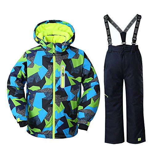 HOTIAN Boys Windproof Waterproof Ski Jacket Insulated Snow Jacket Pants Ski Suit (Size US 4 - US 16) (US 16 (Height 160CM), style5) ()
