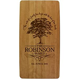 Personalized Wedding Anniversary Gifts with Family Established Year Signs Custom Family Tree Ours Is My Favorite Solid Cherry Wooden Cutting Cheese Boards Engraved with Family Names and Dates