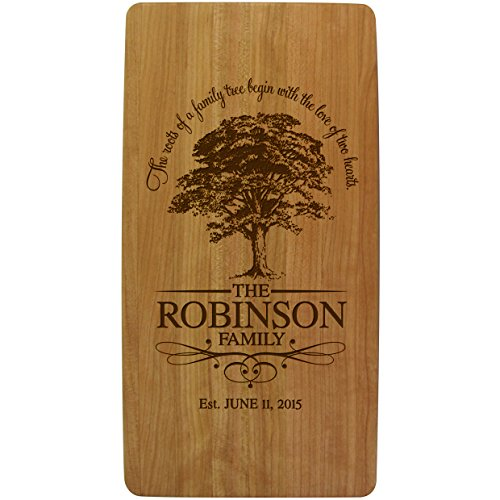 (LifeSong Milestones Personalized Wedding with Family Established Year Signs Custom Family Tree Ours is My Favorite Solid Cherry Wooden Cutting Cheese Boards Engraved with Family Names and Dates)