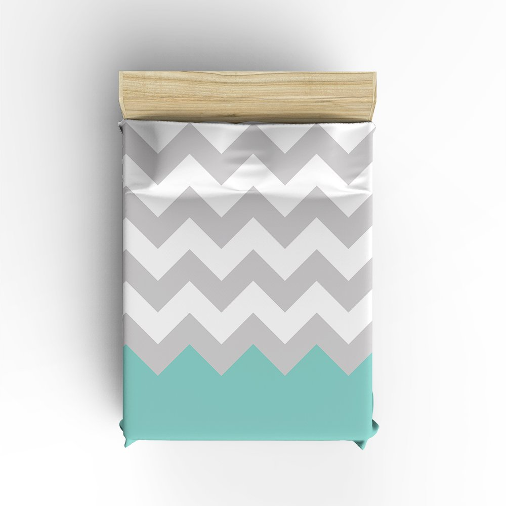 Duvet Cover Sets with Zipper Gray//Green White Chevron Pattern King Queen-4 Pieces Ultra Soft Hypoallergenic Microfiber