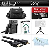 16GB Accessories Kit For Sony HDR-CX240, HDR-PJ275, HDR-AS30V, HDR-AS15, HDR-CX440, HDR-CX405, HDR-PJ440, FDR-X1000V, AS200V Video Camera Includes 16GB Micro SD Memory Card + Replacement (1600maH) NP-BX1 Battery + AC/DC Charger + Micro HDMI Cable + Case +