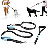 "Pecute Hands Free Dog Leash Running Leash with Extra Foam Handle - Shock Absorbing Extendable Bungee with Reflective Stitching - Waist Belt Adjustable Fits up to 48"" Waist - For Jogging, Running, Walking, Hiking (Black and Blue)"