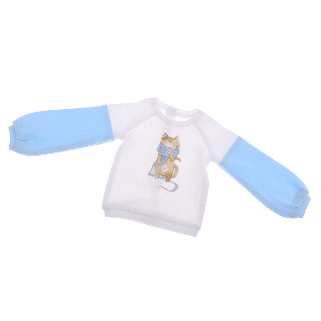 MagiDeal Mode Puppen Freizeitkleidung - Rundhals Sweatshirt Pullover Für 1/4 Bjd Puppe - Weiß + Blau