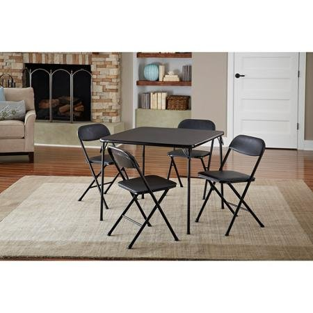 Cosco 5-Piece Card Table Set, Black that is Low-maintenance and long-lasting powder-coat frame finish by Cos by Cosco