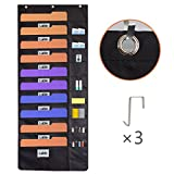 Hanging File Organizer, Wall Mount Folder Holder,Over the Door Storage Pocket Chart,Perfect for Home, School or Office Bill Magazine with 3 Hooks 20 pockets Black