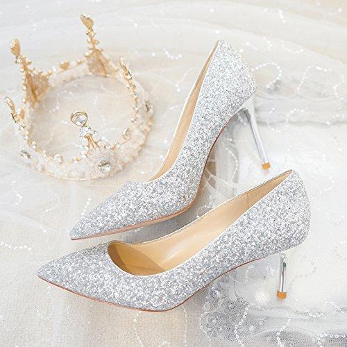 Fiesta altosLos zapatos altos 8 sandalias 5CM de tacones damas para alto HUAIHAIZ Silver tacón elegantes Tacones Boda PqEP5