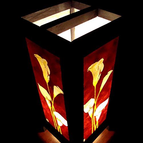 White Lily Flower Handmade Asian Oriental Wood Light Night Lamp Shade Table Desk Art Gift Home Vintage Bedroom Bedside Garden Living Room; Free Adapter; a Us 2 Pin Plug #512 by Apple-Heart (Image #4)