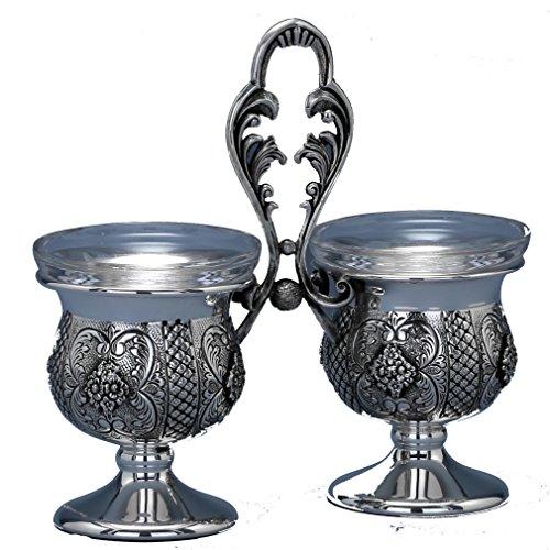Hazorfim Garda Double Salt Cellar Sterling silver 925 salt and pepper shaker shabbat Shabbos bar mitzva wedding gift handmade Israel Judaica hatzorfim (Salt Sterling Cellar)