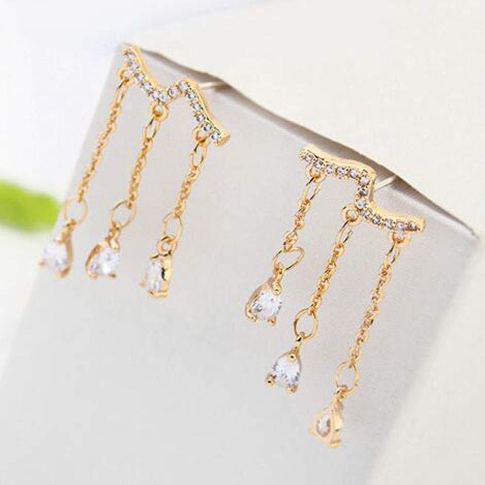 JJYHN Fashion Earrings Jewelry,Micro-Set Zircon Earrings Copper Plated Real Golden Ear Pendant S925 Pure Silver Ear Needle
