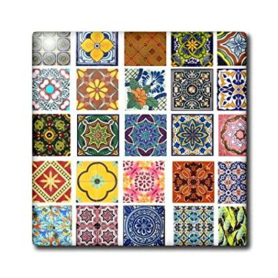 3dRose ct_157470_4 Collage of Colorful Mexican Tiles-Ceramic Tile, 12-Inch