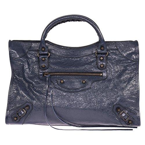 Balenciaga Women's Classic City Leather Bag, Bleu Obscur