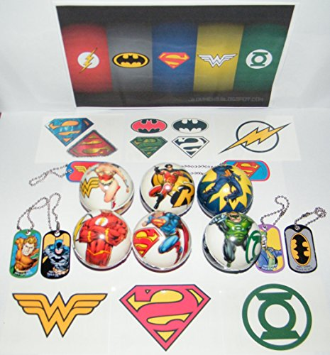 Dc Superheroes Batman, Superman, Justice League Deluxe Toy Party Favors Goody Bags Set of 18 with Soft Foam Balls, Dog Tags and Temporary Tattoos!