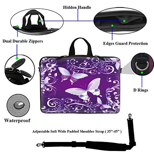 Violetter Schmetterling -  Laptop Schutzhülle / Tragetasche mit verstecktem Griff und verstellbarem Schultertrageriemen, passend für 15,6 (39,62cm) oder kleinere Notebook PCs