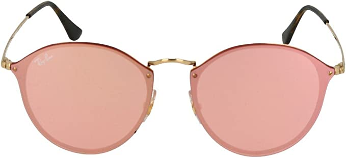 Ray Ban 0RB3574N BLAZE ROUND 001E4 Gold Pink Mirror Pink