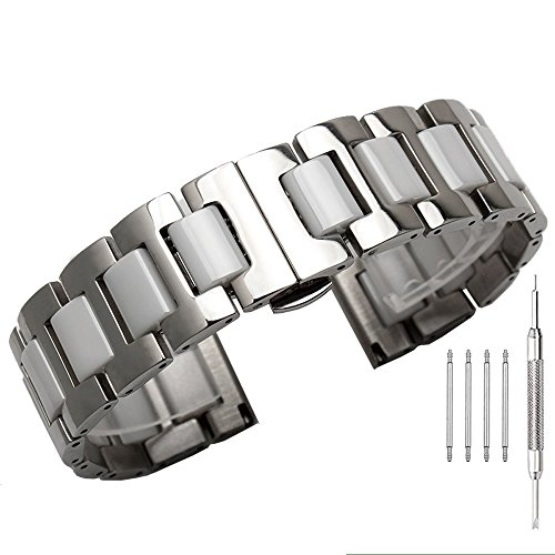 - 20mm Watch Band Silver Stainless Steel and White Ceramic Watch Bands Polished Watch Bracelet Butterfly Clasp Wrist Band