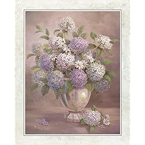 White Lilacs Flowers In Silver I Floral Home Decor Wall Picture Art Print