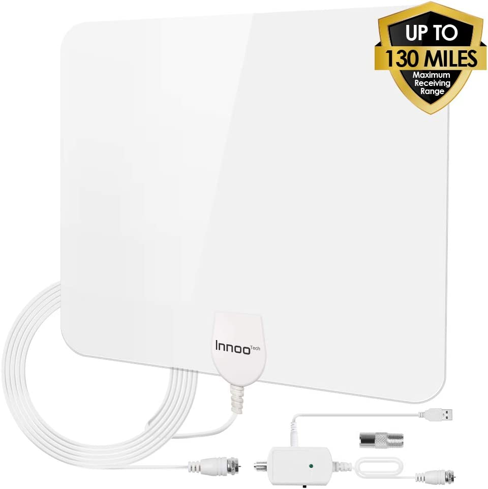 TV Antenna - HD Antenna Support 4K 1080P, 80-130 Miles Range Digital Antenna for HDTV, VHF UHF Freeview Channels Antenna with Amplifier Signal Booster, 16.5 Ft Longer Coaxial Cable, White