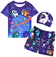 Among Us Boys Swim Suit Set Toddler Swimwear Imposter Swim Trunks Rash Guard Astronaut Bathing Suit UPF 50 for