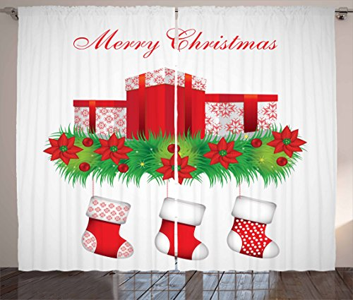 Ambesonne Christmas Curtains, Stockings Hanging for Santa Mistletoe Illustration Merry Christmas for All, Living Room Bedroom Window Drapes 2 Panel Set, 108 W X 63 L inches, Red Emerald White