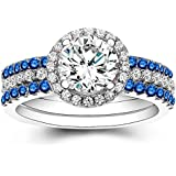 3pcs/Set 925 Silver Ring Women Man White Topaz Sapphire Ring Wedding Size 6-10 (9)