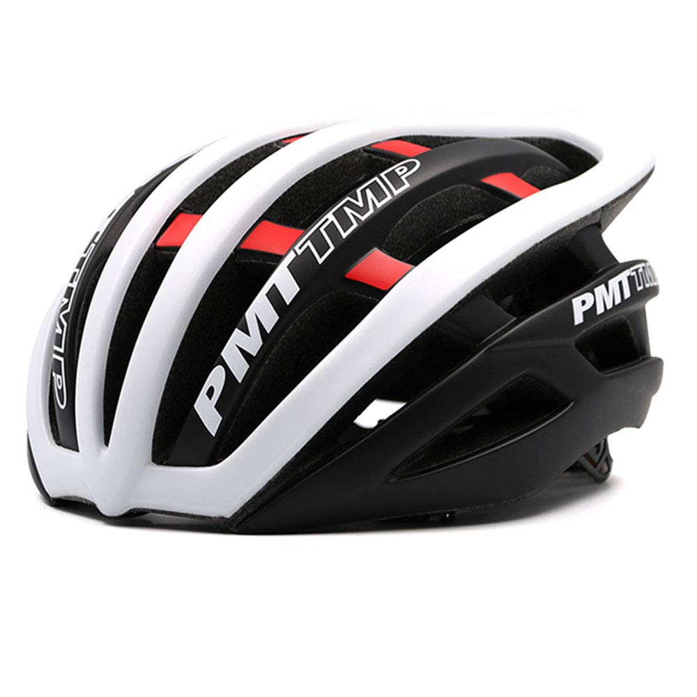 男性と女性のための自転車/サイクリングヘルメット統合屋外旅行通気性ヘルメット(白黒) Large  B07PGD49ZT