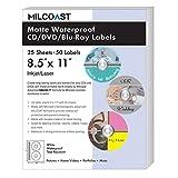 Milcoast Matte Waterproof Tear Resistant White Blank DIY Adhesive CD/DVD/Blu-ray Disc Labels