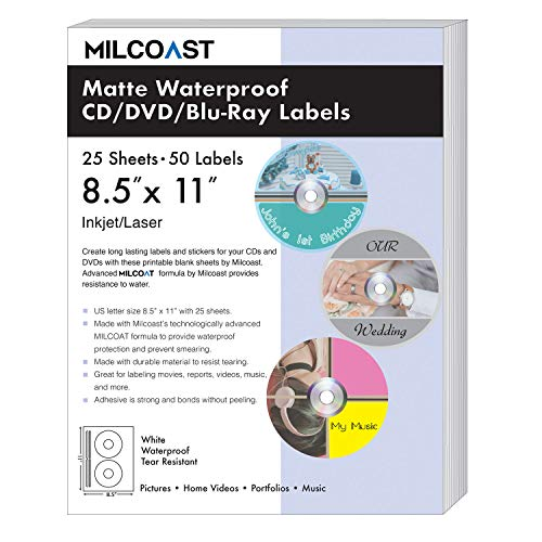 - Milcoast Matte Waterproof Tear Resistant White Blank DIY Adhesive CD/DVD/Blu-ray Disc Labels - for Laser/Inkjet Printers - 50 Label Sets (25 Sheets)