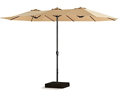 Rimba 15 ft Market Outdoor Umbrella Double-Sided Table Patio Umbrella with Crank, Base IncludedBeige