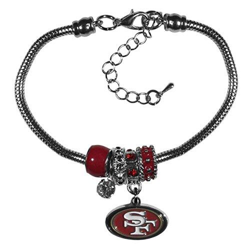 (Siskiyou NFL San Francisco 49ers Euro Bead Bracelet, 7.5