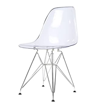 Songtree - 1 * Silla Comedor Moderna Color Transparente Cristal para Casa Sala Restaurante Bar