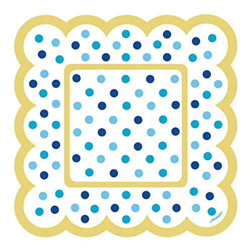 Amscan 436001 Party Supplies Mini Paper Scalloped Square Plates - Blue 5 1/2