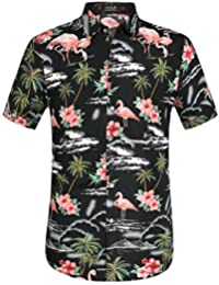 Men's Flowers Flamingos Casual Aloha Hawaiian Shirt