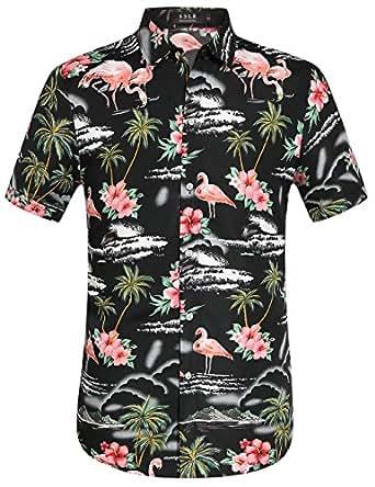 Sslr Men 39 S Flowers Flamingos Casual Aloha Hawaiian Shirt