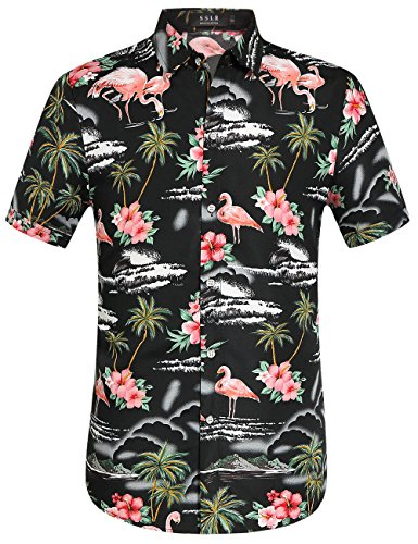 SSLR Men's Flamingos Casual Short Sleeve Aloha Hawaiian Shirt (Small, Black)