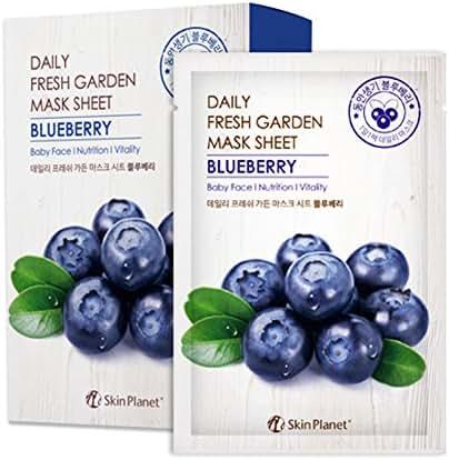 Set of 10, The Elixir Beauty Daily Fresh Garden Tencel Mask Sheet Blueberry Korean Beauty Cosmetic Facial Mask Pack, 25g (Baby Face, Nutrition, Vitality)