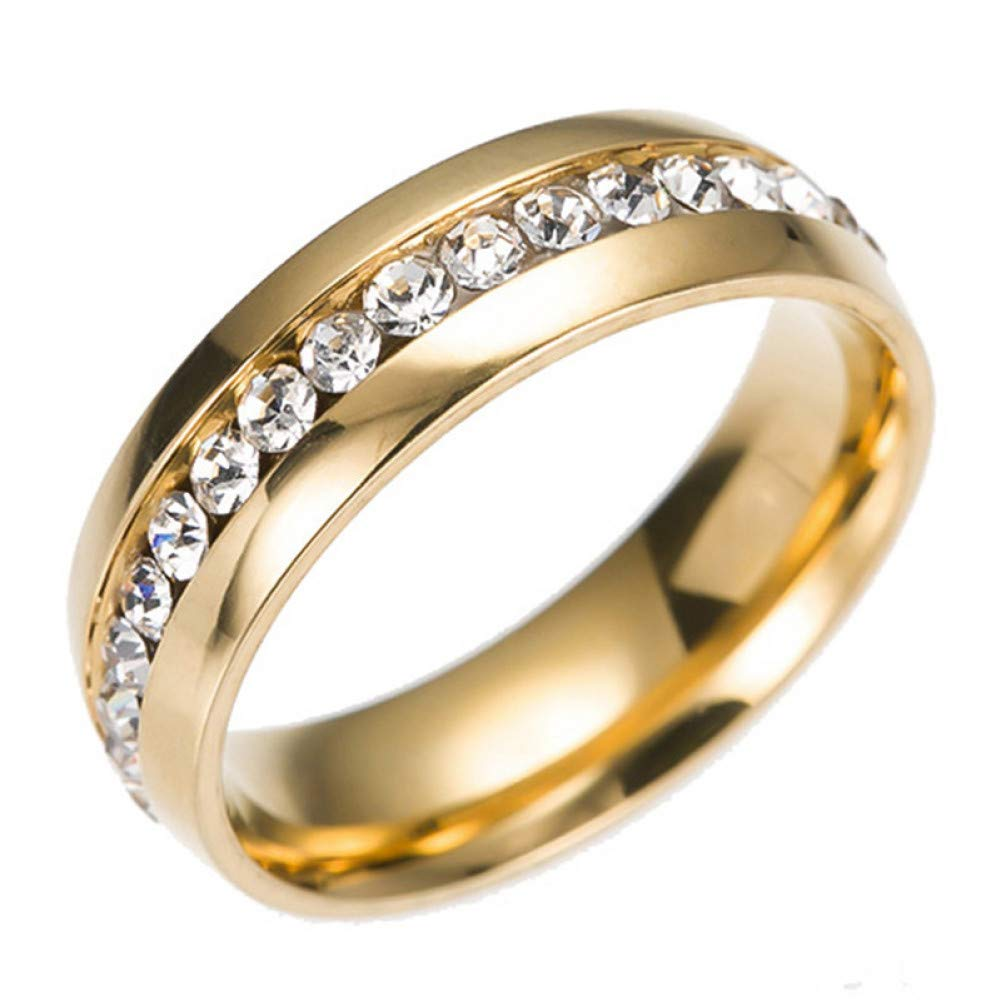 HCBYJ Lady ring Womens Wedding Ring Silver Wedding Gold Couple Stainless Steel Ring Gold Plated Marriage