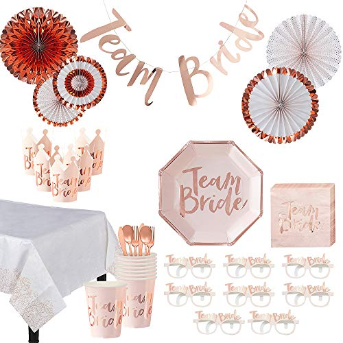 Party City Ultimate Team Bride Bridal Shower Party Kit and Supplies for 32 Guests, Includes Tableware, Favors and More -