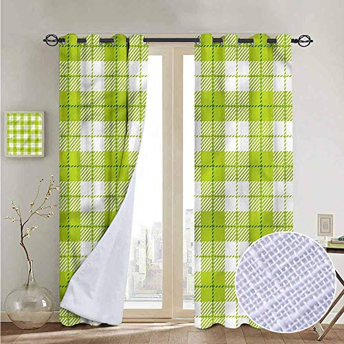 NUOMANAN Bedroom Curtain Plaid,Traditional Scottish Design,Insulating Room Darkening Blackout Drapes 84
