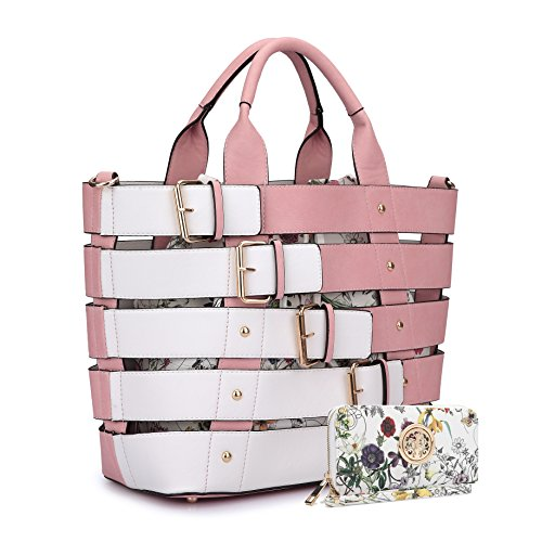 Women Leather Handbag Belt Tote Floral Drawstring Bucket Bag Purse Handbag Wallet Set(6665-PK) ()
