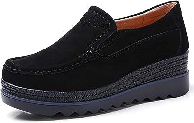 HKR Mocassini Donna in Pelle Scamosciata Moda Comode Loafers Scarpe Zeppa Nero Blu Grigio Beige